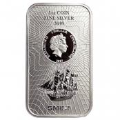 Cook Islands 1 oz Silber - Die Vorderseite zeigt eine Abbildung des Segelschiffs Bounty