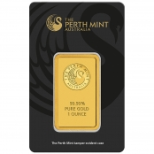 Goldbarren Perth Mint Kangaroo 1 oz - Vorderseite Blister mit Logo der Perth Mint und Gewichtsangabe 1 Unze Feingold