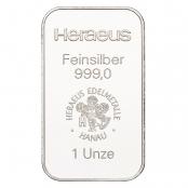 Silberbarren Heraeus 1 oz - Vorderseite