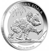 Koala 1 oz Silber 2016 - Die Prägung des Jahres 2015 bildet einen ausgewachsenen Koala, sitzend in einem Baum ab.