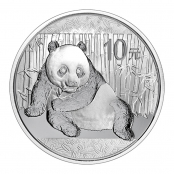 Panda 1 oz Silber 2015 - Die Motivseite zeigt einen Panda liegend auf einem kleinen Bambuszweig