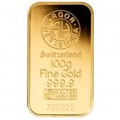 Goldbarren 100 Gramm Argor-Heraeus- LBMA zertifiziert durch Argor-Heraeus