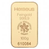 Goldbarren 100 Gramm Heraeus - LBMA zertifiziert durch Argor-Heraeus