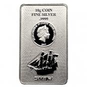 Cook Islands 10 g Silber - Die Vorderseite zeigt eine Abbildung des Segelschiffs Bounty