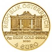 Philharmoniker 1/25 oz Gold 2020 - Wertseite