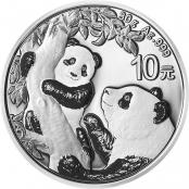 Panda 30 g Silber 2021 - Die Motivseite zeigt einen Panda liegend auf einem kleinen Bambuszweig
