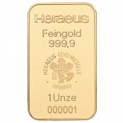 Goldbarren 1 oz Heraeus - Der Goldbarren von Argor-Heraeus ist LBMA zertifiziert