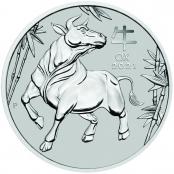 Lunar III -  Ochse 1 oz Platin 2021 - Motivseite der attraktiven Münze der Perth Mint
