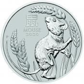 Lunar Maus 1 oz Platin 2020 - Motivseite der attraktiven Münze der Perth Mint