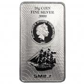 Cook Islands 20 g Silber - Die Vorderseite zeigt eine Abbildung des Segelschiffs Bounty