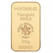 Goldbarren 20 Gramm Heraeus - LBMA zertifiziert