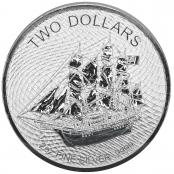 Cook Islands 2 oz Silber - Die Vorderseite zeigt eine Abbildung des Segelschiffs Bounty