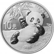 Panda 30 g Silber 2020 - Die Motivseite zeigt einen Panda liegend auf einem kleinen Bambuszweig