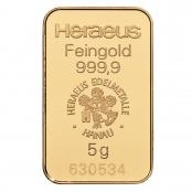 Goldbarren 5 Gramm Heraeus - LBMA zertifiziert