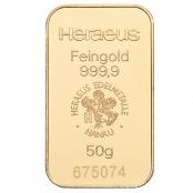 Goldbarren 50 Gramm Heraeus - LBMA zertifziert