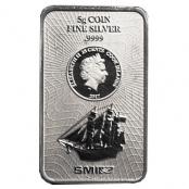 Cook Islands 5 g Silber - Die Vorderseite zeigt eine Abbildung des Segelschiffs Bounty