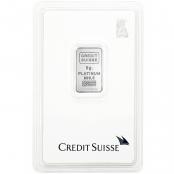 "5 Gramm Platinbarren Credit Suisse ""Statue of Liberty"" - Vorderseite"