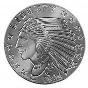Indian Head 2 oz Silber, der Incuse Indian zeigt auf der Vorderseite das Profil eines Ureinwohners