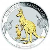 Kangaroo 1 oz Silber 2020 Gilded - Motivseite der attraktiven Münze der Perth Mint