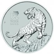 Lunar III -  Tiger 1 oz Platin 2022 - Motivseite der attraktiven Münze der Perth Mint