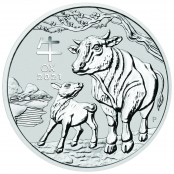 Lunar III - Ochse 2 oz Silber 2021 - Motivseite