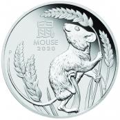 Lunar Maus 1 oz Platin 2020 Proof - Motivseite der attraktiven Münze der Perth Mint