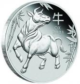 Lunar III - Ochse 1 oz Platin 2021 Proof - Motivseite- Motivseite der attraktiven Münze der Perth Mint