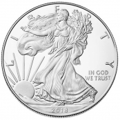 American Silver Eagle 1 oz Jahrgang 2015 - Auf der Vorderseite der Silver Eagles ist die Walking Liberty (Schreitende Freiheitsgöttin) abgebildet.