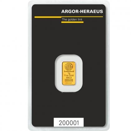 Goldbarren 1g Argor Heraeus