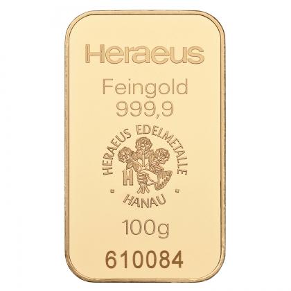 Goldbarren Heraeus 100 Gramm