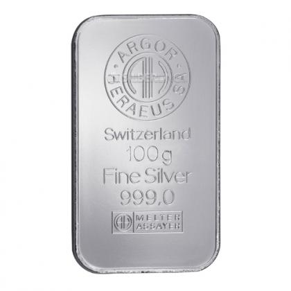 Silver Bar 100 Gram Argor-Heraeus