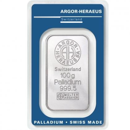 Palladiumbarren 100 Gramm Argor-Heraeus