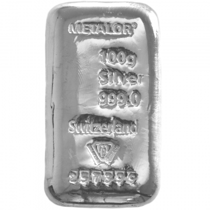 Silberbarren 100 g Metalor