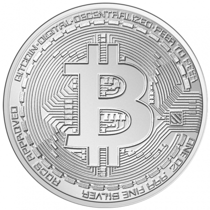 Bitcoin Münze aus Silber 1 oz (Chad)