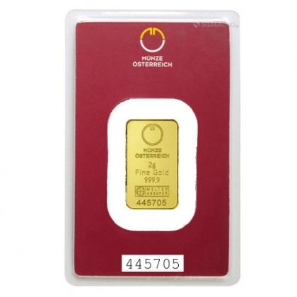 Gold Bar 2 Gram Austrian Mint