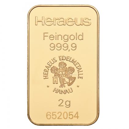 Goldbarren kinebar™ 2 Gramm Heraeus