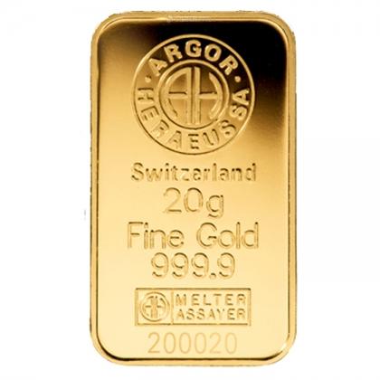 Goldbarren Argor-Heraeus 20 Gramm