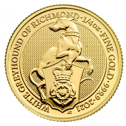 Queen's Beast White Greyhound 1/4 oz Gold 2021