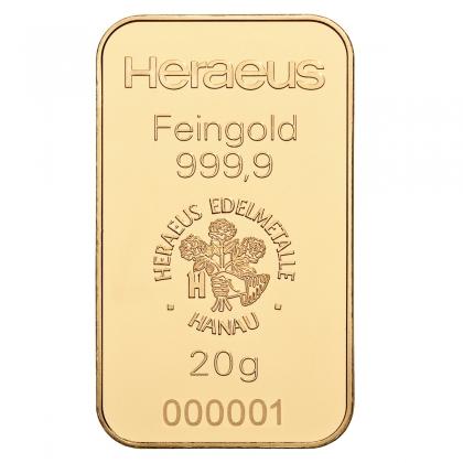 Goldbarren 20 Gramm Heraeus