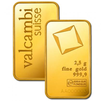 Goldbarren Valcambi 2,5 Gramm