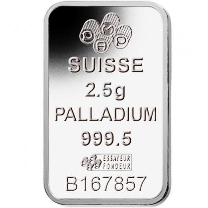 Palladiumbarren 2,5 Gramm PAMP Suisse
