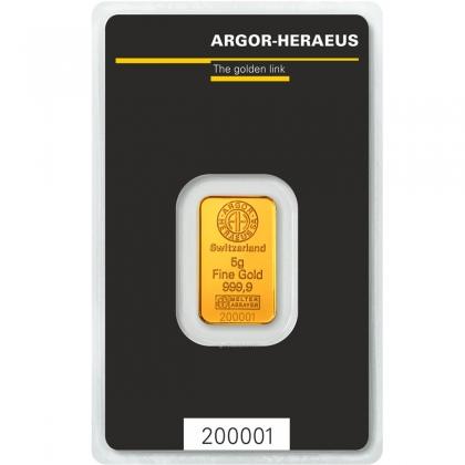 Gold Bar 5 Gram Argor-Heraeus