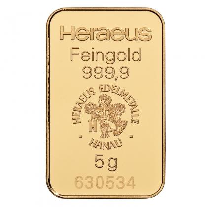 Goldbarren Heraeus 5 Gramm