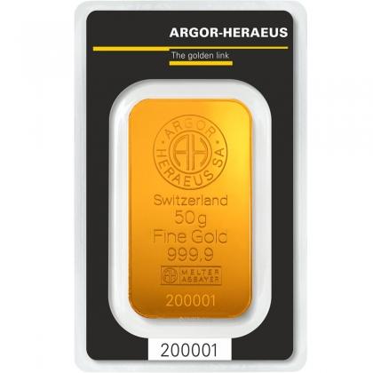 Goldbarren Argor-Heraeus 50 Gramm