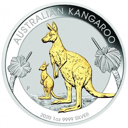 Kangaroo 1 oz Silber 2020 Gilded + Box + CoA