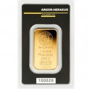 Goldbarren 1 oz Argor-Heraeus, mit Echtheitszertifikat und Produktionsnummer