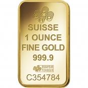 Goldbarren 1 oz Fortuna - Logo und Gewicht
