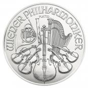 Philharmoniker 1 oz Platin 2020 - Auf der Motivseite des Philharmonikers in Platin finden sich ausgewählte Instrumente der Wiener Philharmoniker