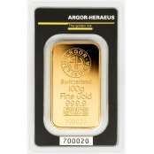 Goldbarren 100 Gramm Argor-Heraeus - Vorderseite Blister