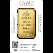 Goldbarren 100 Gramm Fortuna - Rückseite mit PAMP Suisse Logo